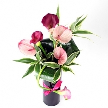 Pink Lady - calla lily and anthurium vase
