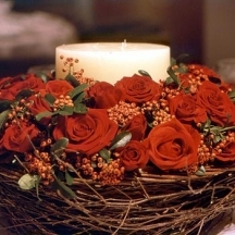 Rose Basket & Candle