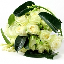 Serenity - white rose bouquet